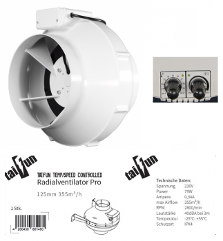 Taifun Temp/Speed Controlled Radialventilator 125mm 355m³/h
